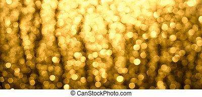 golden-brown, 抽象的, bokeh., ぼんやりさせられた, バックグラウンド。, クリスマス, 白熱