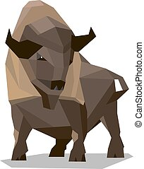 Golden brown bison in a geometric style