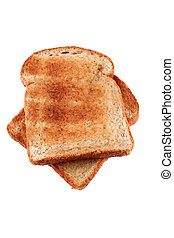 Two slices of warm buttered golden brown toasted bread
