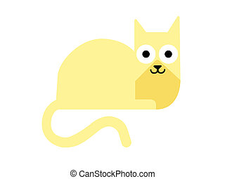 Golden brown cat cartoon drawing illustration isolated on white background.