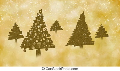 Golden brown Christmas trees on the snowy magical day -...