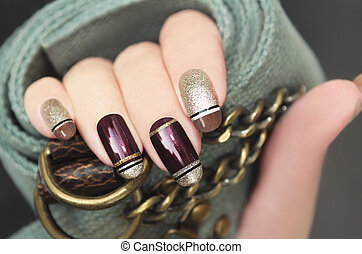 Golden brown French manicure.