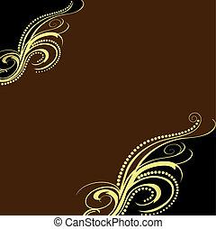 gold(en), brun, ornement, fond, bande