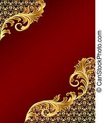 gold(en), brun, ornement, fond