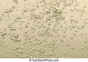 Beautiful champagn bubbles in a cold crystal glass