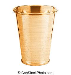 golden bucket isolated on white background