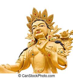 Golden Buddah statue of Green Tara a Tibetan buddhist God against white background.