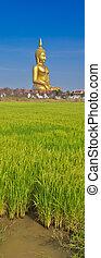 Golden Buddha big statue at Wat Muang in Angthong, Thailand