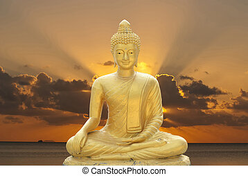 golden buddha - Golden Buddha with abstract background.