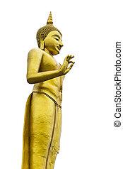 Golden Buddha image status isolated