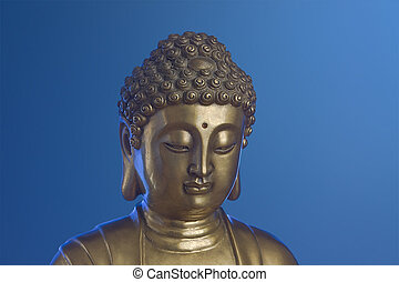 Golden Buddha is on the blue background