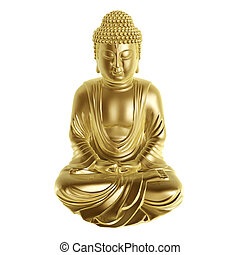golden buddha sitting cross-legged on white background
