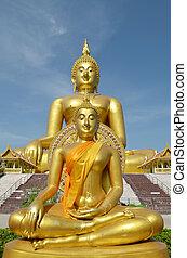 Golden Buddha statue at Wat Muang in Angthong, Thailand