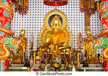Golden buddha statue in Chinese temple