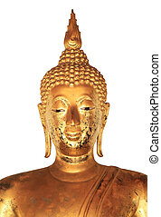 Golden buddha statue isolated on white background