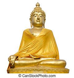 golden buddha statue on white background