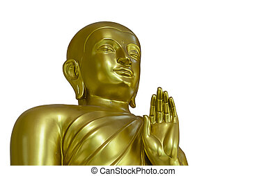 Golden Buddha Statue on White Background with Clipping Path