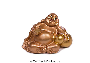 golden budha - golden laughing budha isolated on white