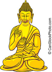 budha - golden budha isolated on the white background