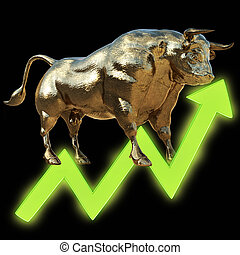 golden bull with chart, 3D rendered