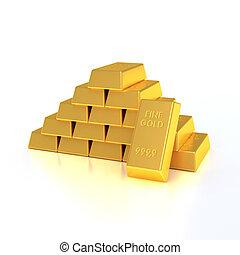 Golden bullion. Isolated on white.