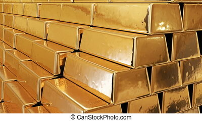 Golden Bullions in a Mountain of Gold Seamless. Looped 3d Animation of Beautiful Gold Bars Growing High with Yellow Reflections. Banking and Wealth Concept. 4k UHD 3840x2160