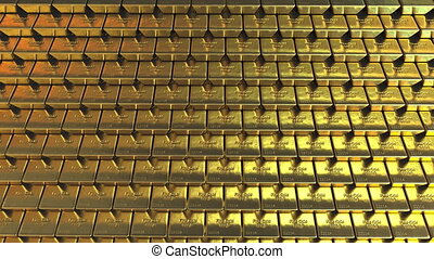 Golden bullions. Realistic motion background - Multiple gold...