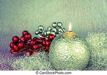 golden burning candle