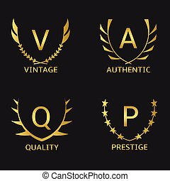 Prestige - Golden business logo set. Vintage Quality...