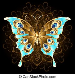 Golden butterfly with turquoise - gold, butterfly jewelry, ...