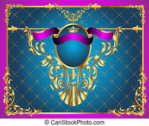 gold(en), cadre, ornement, fond, légume, filet