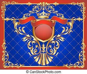 gold(en), cadre, ornement, illustration, fond, légume, filet