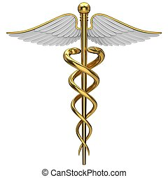 Golden caduceus medical symbol isolated on a white ...