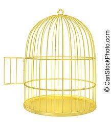 Golden cage  - empty opened golden cage 3d render