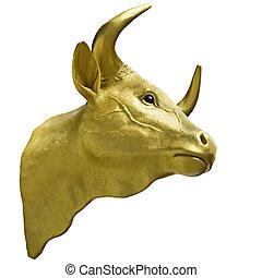 Golden Calf Taurus gold head isolated