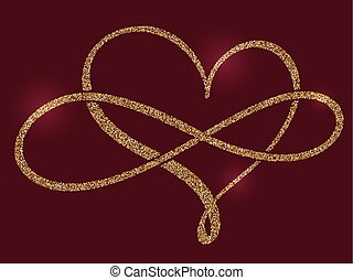 golden calligraphic heart and a sign of infinity on a claret background. Vector illustration EPS10