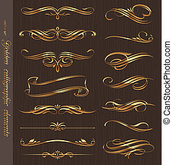 Golden calligraphic vector design elements on a black wood...
