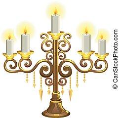 Golden Candelabra Lit Candles