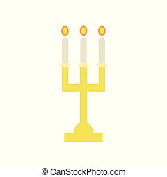 Golden candlestick with three burning candles. Religious icon. Elegant altar candelabra for Christian worship. Church utensils. Flat vector design