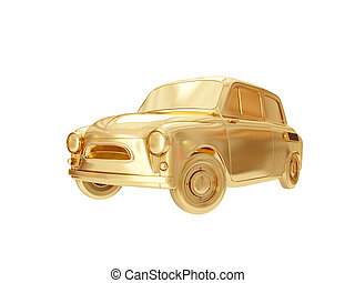 Golden car. 3D rendering
