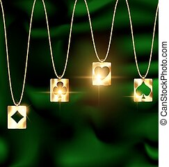 green background and jewelry chain with jewel golden pendant card suit