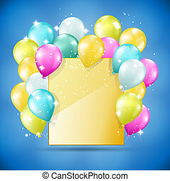 golden card with balloons and sparkles
