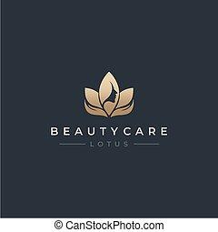 Golden Care Hand Lotus Beauty Face Logo Design Vector