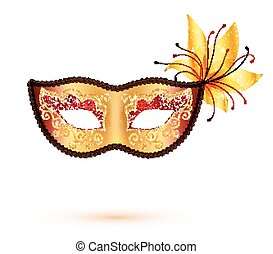 Golden carnival mask isolated on white background