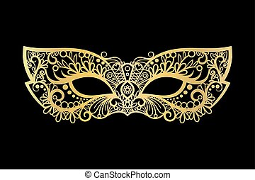 Golden carnival mask on black background