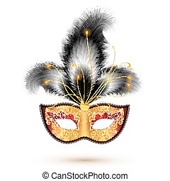 Golden carnival mask with black feathers - Golden vector...