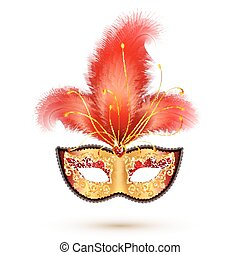 Golden carnival mask with red glitter decoration and realistic feathers