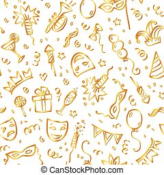 Golden carnival symbols in doodle style on white background, seamless pattern