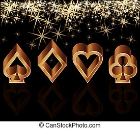 Golden casino card with poker