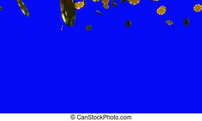 golden Casino chips chroma key - The 3d rendering of many...
